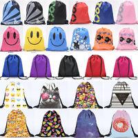 Womens Mens String Drawstring Bag Backpack Sack School Sport Travel Shoulder Bag