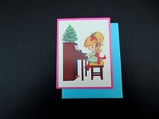 Vintage Unused Xmas Greeting Card Sweet Girl Playing the Piano During Holidays