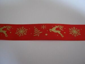 """CHRISTMAS SATIN RIBBON! RED with GOLD SNOWFLAKES & REINDEER  *NEW*   1"""" & 5yds"""