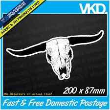 Skull 010 Sticker/ Decal - RMW Outback Cowboy Bull Harley Chopper Bobber Ute 4x4