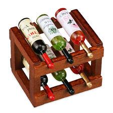 Reutter Porzellan Weinregal mit 6 Flaschen / Wood Wine Rack Set Puppenstube1:12