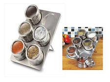 6 PC magnetica Herb Spice Rack di Storage Jar Tin con supporto stand in acciaio inox