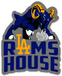 Los Angeles Rams Logo type with Attack Ram - L.A. Rams House Die-cut MAGNET