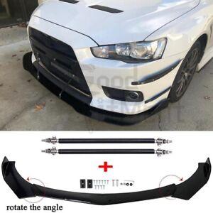 For Mitsubishi Lancer EVO X Front Bumper Lip Splitter + Carbon Fiber Strut Rods