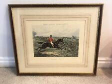 Henry Thomas Alken's 'Charging an Ox Fence'  Framed Matted Lithograph