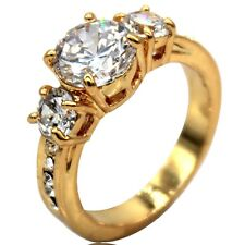 Size 5 6 7 8 9 10 11 18K Gold Plated Wedding Engagement Ring Three-Stone Classic