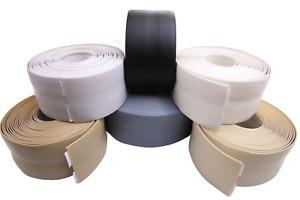 Skirting Board - Flexible PVC - Self Adhesive Tape 5 10 15 meters White, Grey