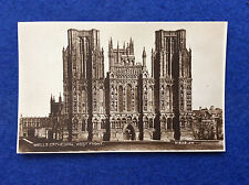 Sepia postcard: Somerset, Wells, cathedral west front