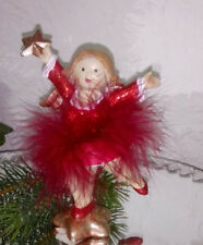 Ángel de la Navidad Estrella Rojo Figura Decoración Shabby Chic