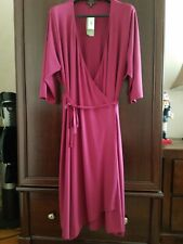 NWT EILEEN FISHER Maroon V-Neck 3/4 Sleeves Wrap Dress Size 3X $ 318