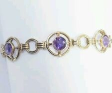 Vintage Solid Gold Genuine Amethyst 3 Stone Circle Bracelet 10.1 Grams 7 inches