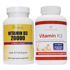 Pro Natural Vitamin D3 - 20000 + Netzeband Vitamin K2 hochdosiert Vitaminkombi