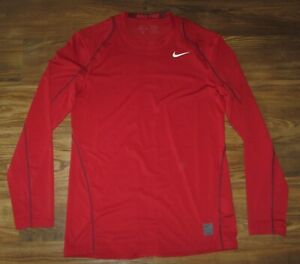 Nike Pro Mens Long-Sleeve Crewneck Shirt, Red, Size M, Fitted, EUC