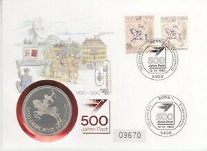 Timbre Numismatique Allemagne DDR (R.d.a.) + Rfa 500 Années Postal 1990