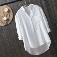 Women Lady Plain White Shirt Blouse Top V-neck Cotton Casual Long Sleeve Classic