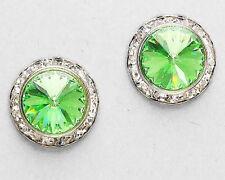 """Green Silver Post Stud 5/8"""" Women's Earrings Austrian Crystal Peridot"""