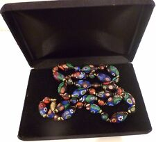 """Millefiori Necklace 28"""" Fishhook Clasp Green Red Blue on Black Background Box"""