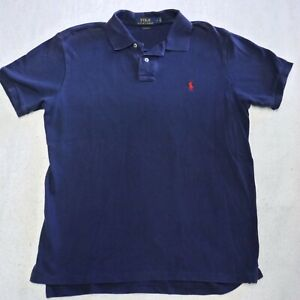 Polo Ralph Lauren Dress Shirt Adult Large Blue Polo Red Pony Custom Fit Mens