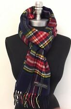 Winter 100% CASHMERE SCARF SCOTLAND SOFT UNISEX Plaid Navy blue/red/yellow/White