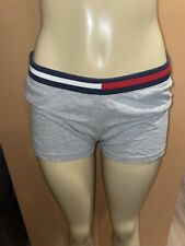 Tommy Jeans Gray Shorts Gym Yoga Red White Blue Logo Band Elastic Stretch Large