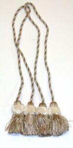 """(2) ADO Rope Curtain Tiebacks w/ Tassels ~ Ivory Tan ~ 34"""" L **NEW**"""