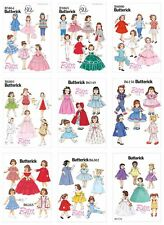 "Butterick Sewing Patterns Doll 18"" Retro 1950s 1940s Vintage Clothing Hats Dress"