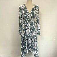 Ebby & I Size 10 Peasant Wrap Dress 'Botanic' Print Sage White Long Sleeve Midi