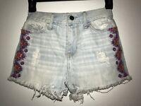 Hollister Destroyed Distressed Cut off Jean Shorts Sz 00 23 Aztec Design Light