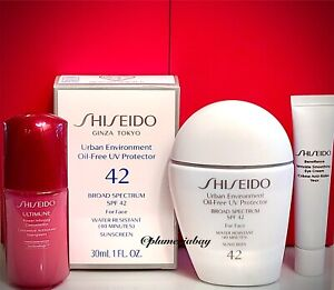 SHISEIDO Urban Environment UV Protector SPF 42 1oz/30ml+Ultimune+Benefiance Eye