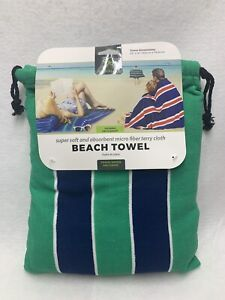 "TRAVELON BEACH TOWEL WITH CARRY DRAWSTRING POUCH 63"" X 31"" NEW"