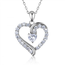Sterling Silver Heart Pendant Necklace Jewelry Women Girls Valentines Day Gift