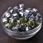 New 10pcs 10mm Cube Square Faceted Crystal Glass Loose Spacer Beads Silver