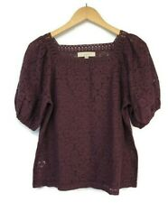 Ann Taylor Loft Lace Sheer Blouse Size XS Square Neck Puff Sleeve