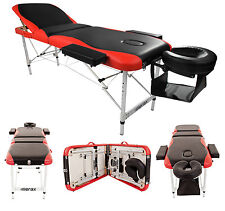 Merax Aluminium 3 Section Portable Massage Table Facial SPA Tattoo Bed Red