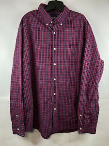 Chaps Men's Long Sleeve Button Down Casual Shirt Easy Care Red Plaid XXL 2XL