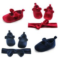 Toddler Infant Baby Girls Flower Shoes+1PC Hair Belt First Walkers Kids Shoes