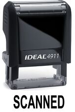 SCANNED stamp text, IDEAL 4911 Self-inking Rubber Stamp with BLACK INK