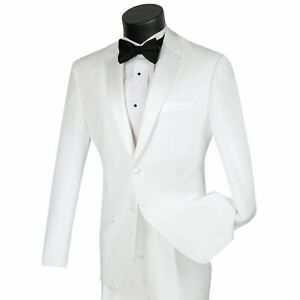 LUCCI Men's White Slim Fit Formal Tuxedo Suit w/ Sateen Lapel & Trim NEW