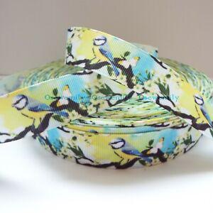 Per Metre - Blue Tits / Springtime 22mm - Printed Grosgrain Ribbon /Party Cake