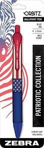 Orbitz Retractable Ballpoint Pen Medium Point 1.0mm Blue Ink American Flag Print