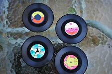 Set of 4, Vinyl Record Coasters - 104mm Diameter - Nostalgic Retro Style