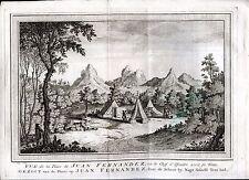 GRAVURE J.V. Schley. île Juan Fernandez ou le chef d'escadre avait sa ...XVIIIé