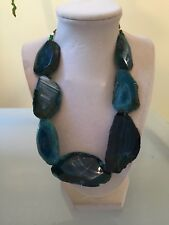 Statement Slab Necklace Nwot Blue Natural Stone