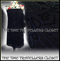 KATE MOSS TOPSHOP EMBELLISHED 20s BLACK SILVER BEADED BANDEAU MINI DRESS UK 6 8