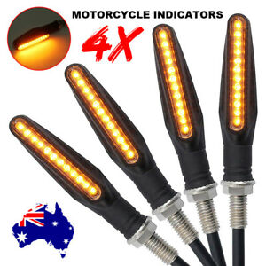 4X Motorcycle 12 LED Turn Signal Indicators Motorbike Flowing Water Light Amber