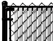 Chain Link Gray Double Wall Tube™ Privacy Slat For 4ft High Fence Bottom Lock