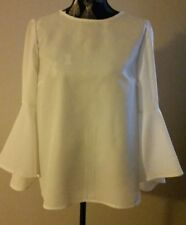 NEW White Blouse with cascade bell sleeves, size 12