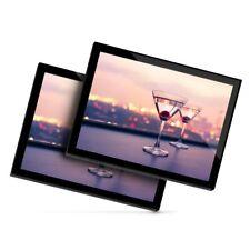 2 X Manteles Individuales De Cristal 20x25 Cm-Vasos de Martini alcohol Bebida Bar #21851