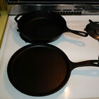 """(2) LODGE Cast Iron 10"""" Skillet 8SK & 10.5"""" Griddle 90G Made in USA"""