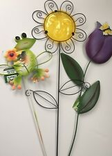3 x Metal Garden Flowers Orange Sunflower purple Tulip & Frog ornament Pot 20""